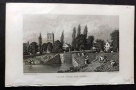 Westall 1830 Antique Print. Calne from the Canal